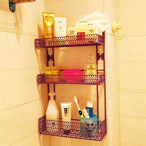 SS-Bathroom racks bathroom wall shelf organize kitchen cruet rack wall rack  rose red