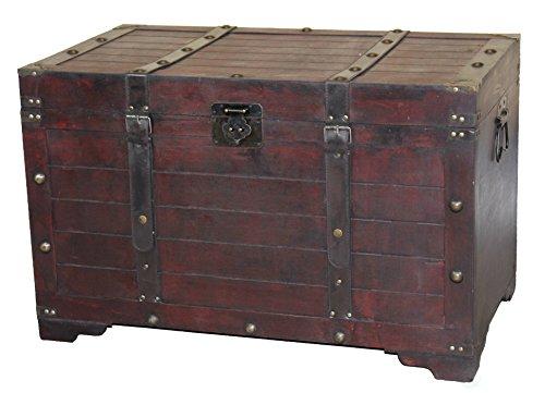 Vintiquewise Large Wooden Antique Storage Trunk Cherry