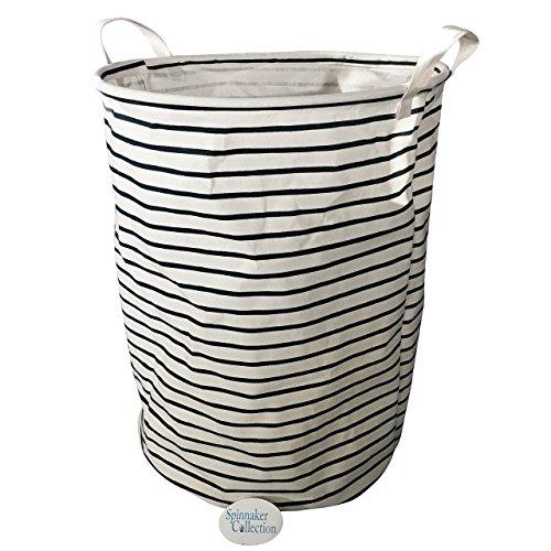 Canvas Storage Bin with Midnight Blue Stripes Laundry Organizer - Closet Hamper - Spinnaker Collection
