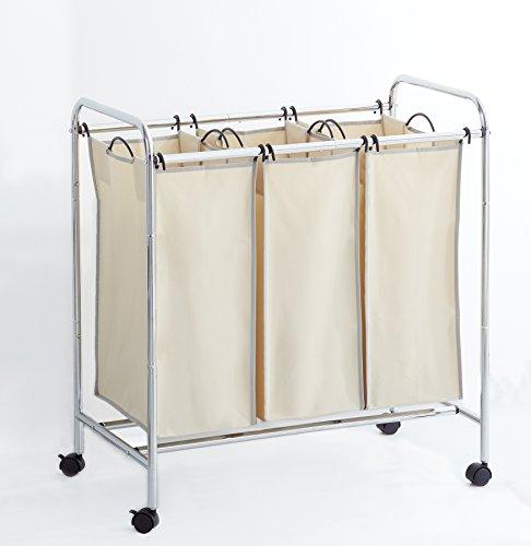 Hamper with Wheels Rolling Cart Heavy Duty 3-Bag Triple Laundry OrganizerSorter ChromeBeige by Clara Clark