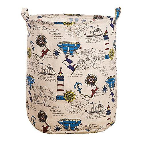 Hangnuo Foldable Laundry Basket Cotton Linen Toys Bin Basket Household Storage Organizer Pirate