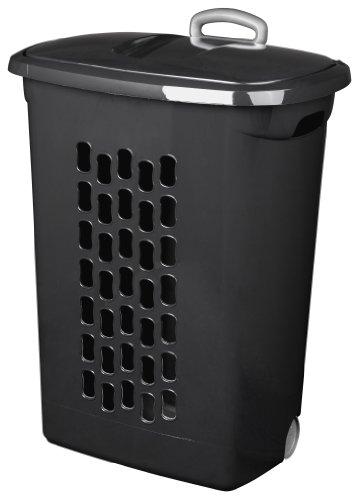 Sterilite 12229003 Ultra Wheeled HamperBlack Plastic Laundry Basket 3-Pack