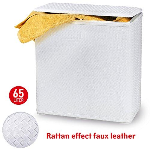 Tatkraft Nord Durable Sturdy Laundry Basket 65L Rattan Effect Water Resistant Plastic