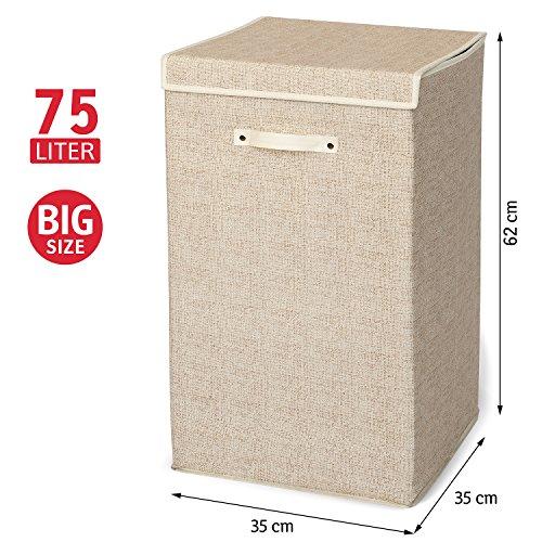 ArtMoon Felix Large Laundry Basket Non Woven Textile 75L 35X35X62cm