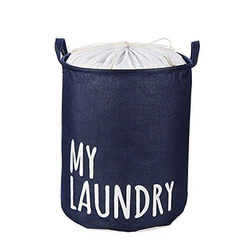 Hflove Folding Large Laundry Basket Drawstring Waterproof Linen Storage Basket Drawstring Laundry Basket Navy blue