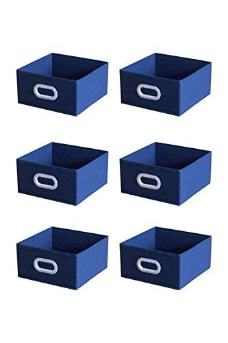 6 pcs Home Storage Box Bins Household Organizer Fabric Box Basket Container Dark Blue Color