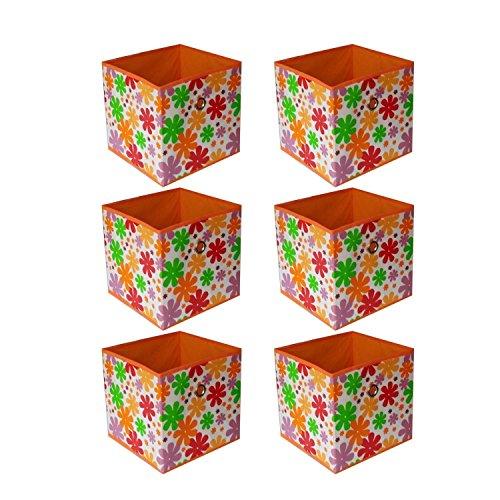 6 pcs Home Storage Box Household Organizer Fabric Cube Bins Basket Blue Container Color Azalea Orange
