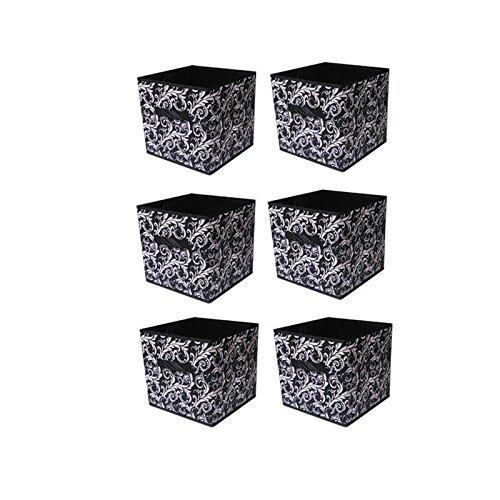 6 pcs Home Storage Box Household Organizer Fabric Cube Bins Basket Container Black Flower