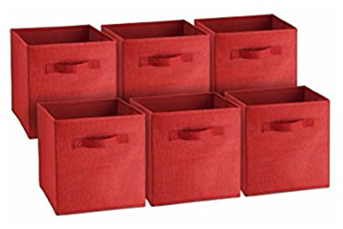 RED 6PCS Home Storage Box Household Organizer Fabric Cube Bin Basket Container