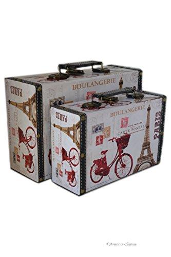 Retro Set 2 Wood Nesting Eiffel Tower Suitcase Chest Paris Home Storage Boxes