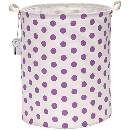 Sea Team 197 Inches Large Sized Waterproof Coating Ramie Cotton Fabric Folding Laundry Hamper Bucket Cylindric Burlap Canvas Storage Basket with Stylish Polka Dot Design 197 Purple