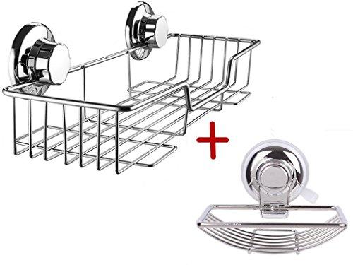 ARCCI Rustproof Suction Cup Shower Caddy Shelf Storage Basket - Stainless Steel Organizer Storage for Kitchen Bathroom