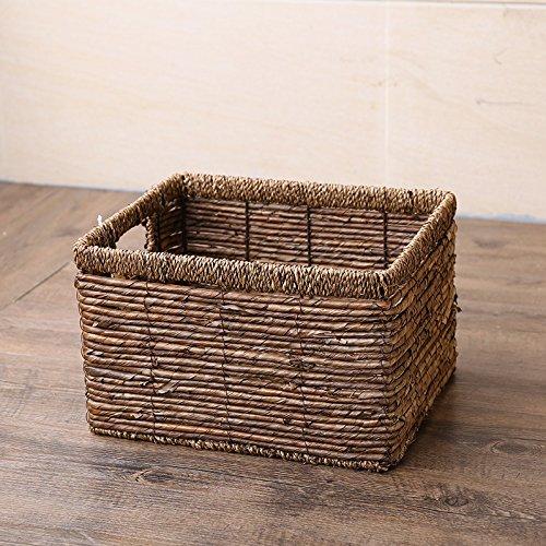 CLG-FLY Home single handle straw basket shelf storage basket storage basket drawer finishing non-rattan basket WillowBanana leaf-free clothLarge double handle 353024cm