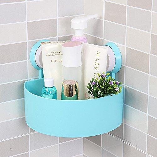 DealgladNew Bathroom Corner Suction Cup Bath Rack Organizer Holder Shower Caddy Shelf Storage Basket Blue