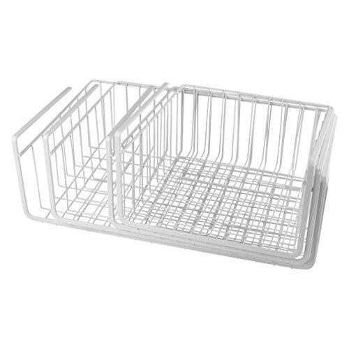 Evelots Wire Under Shelf Storage Baskets 4 Piece Set Varying Sizes White
