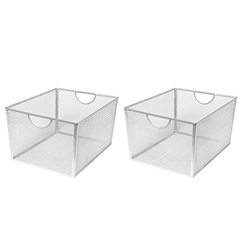 Seville Classics Extra-Large Wire Nesting Utility Shelf Storage Basket 2 Piece Set Silver