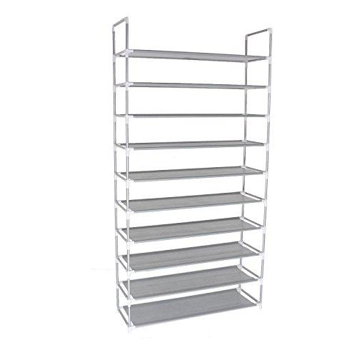 10-Tier Shoe Rack Space Saving Shoe Tower Shelf Cabinet 50 Pairs Portable Shoe Storage Organizer Non-woven Fabric Shoe Rack Closet Grey