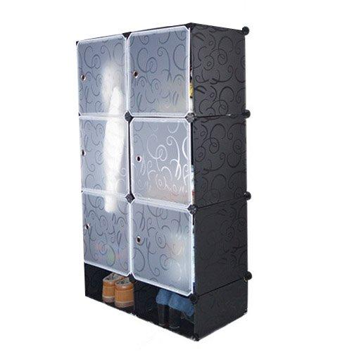 MWGears HNY213-Black Portable 6-Cube Clothes Closet Wardrobe Storage Organizer w Shoes Closet Organizer - Black