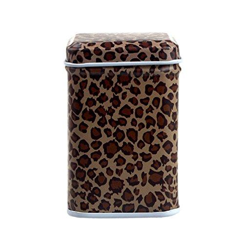 Sannysis Metal Candy Trinket Tin Jewelry Iron Tea Coin Storage Square Box Case leopard