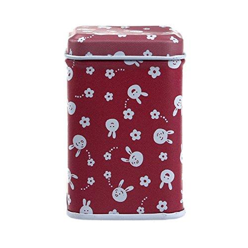 Sannysis Metal Candy Trinket Tin Jewelry Iron Tea Coin Storage Square Box Case red