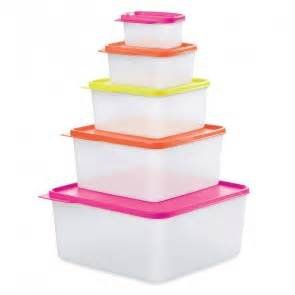 Tupperware Nesting Stackable Storage Square Containers 5 Piece Box Set with Multi-colored Lids Tupperware Keep Tabs
