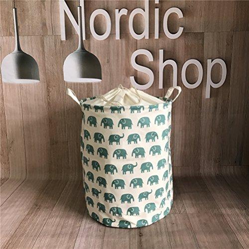 Fieans Foldable Household Storage bin Cotton Linen Round Laundry Basket Hamper Closet Storage-Green Elephant