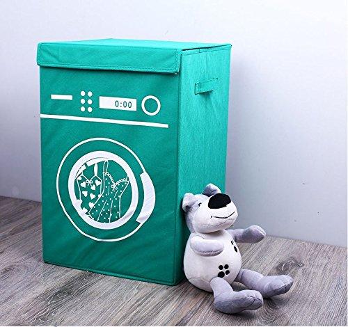 Katoot Laundry Basket Storage Foldable Clothing Washing Machine Pattern Non-woven Fabrics Hotel Containers Kids Toys Organizer Barrel Green
