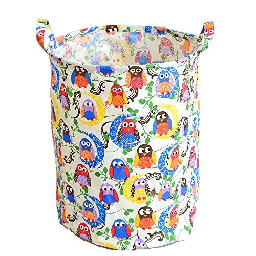 DuShow Folding Cylindrical Waterproof Coating Canvas Fabric Laundry Hamper Storage Basket Owl