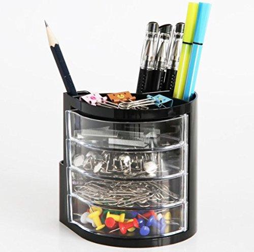 Chris-Wang 1Pc Multifunctional Plastic Desktop Pen Holder Desk Storage Organizers Case for PencilRubberBinder ClipsPaperclipsMemo NotesStationeryOffice Suplise