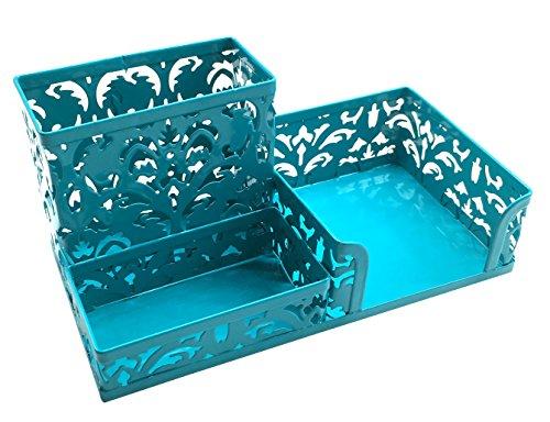 EasyPAG Hollow Flower Pattern 3 Compartment Office Desk Organizer Dark Teal