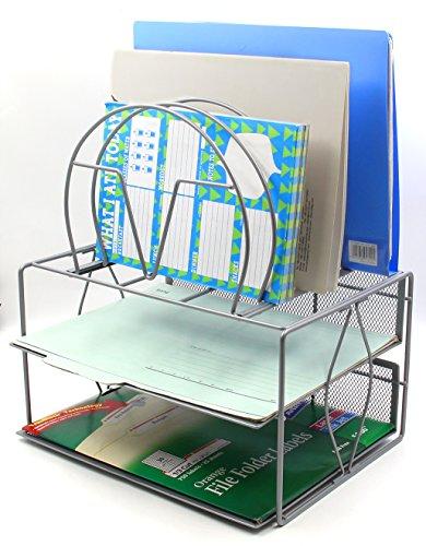 EasyPAG Mesh 2 Tier Office Desk File Organizer with 5 Sorter Silver