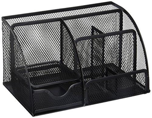 Greenco Mesh Office Supplies Desk Organizer Caddy 6 Compartments Black