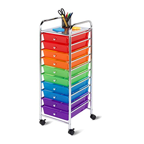 Honey-Can-Do CRT-02214 Rolling Office Organizer 10-Drawer