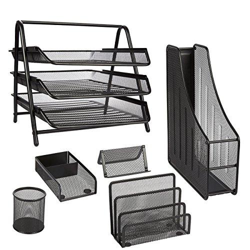 Office Desk Organizer 6-Piece Set - Office Desk Set Black