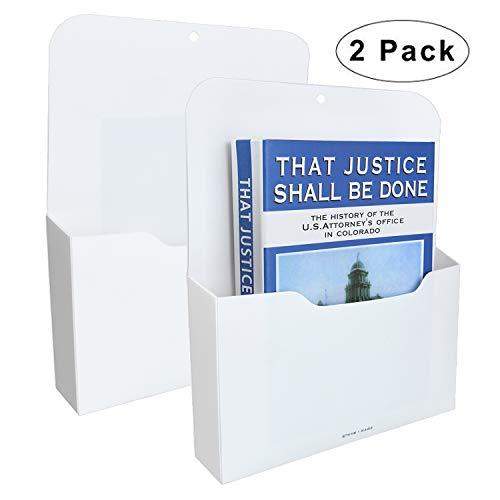 2 Pack Magnetic File Holder - Paper Holder Pocket OrganizerHanging Wall File Organizer Office Supplies Storage Magazine Mail Organizer Case for NotebooksPlannersLetter 2 Pack