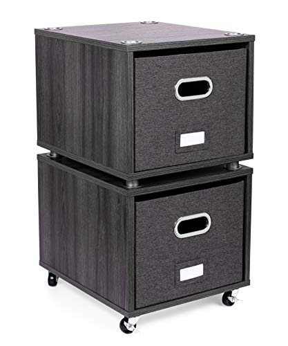 BirdRock Home Rolling File Cabinet with 2 Lateral Drawers - Decorative Storage Shelf Blankets Books Files Magazines Toys etc - Removable Bin with Handles - Under Desk Office Living Room Home