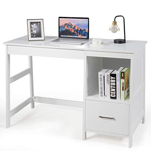 Tangkula 475 Computer Desk with 2 Storage Drawers Small Computer Table Study Writing Desk Modern Home Office Desk Study Desk with Storage Space White