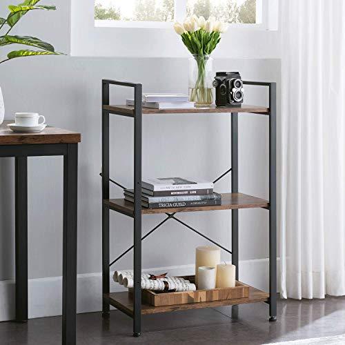 VINEXT Small Bookcase3-Tier Bookshelf Storage Rack Shelf Unit for Living Room Bedroom Office Kitchen Industrial Book Shelves Vintage Wood and Metal Bookshelves Retro Brown