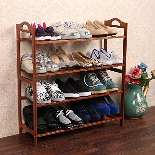 4 Tiers Shoe Rack Entryway Shoe Shelf Storage Organizer Natural Bamboo Plant Shelf Home Storage Shelf for Books and Flowerpots【US STOCK】 Cherry Red