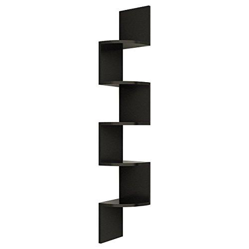 Floating Shelf 5 Tier Wall Mount for Home Storage Shelves MDF Black