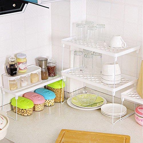 VIPASNAM-Foldable Home Storage Shelf Rack Holder Organizer Kitchen Bathroom Cabinet Stand