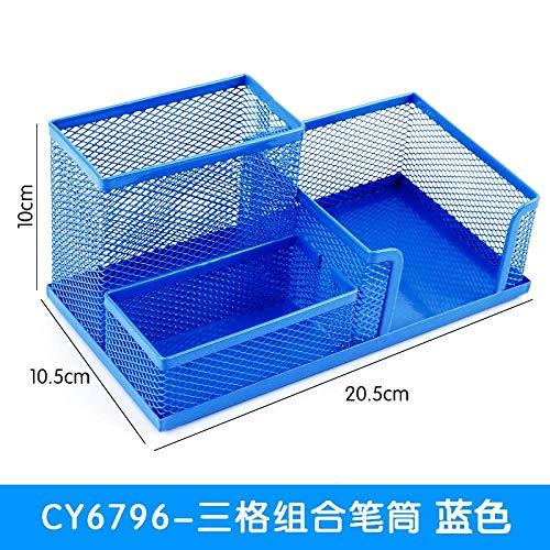 Multi Function Desk Storage Container Stationery Storage Rack Office Supplies Storage Box 三合一蓝色