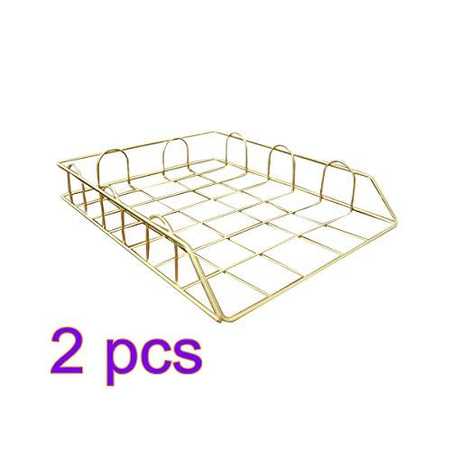 Vosarea Table Metal Wire Mesh Basket Stackable File Holder Tray Desktop Storage Containers 2pcs Golden