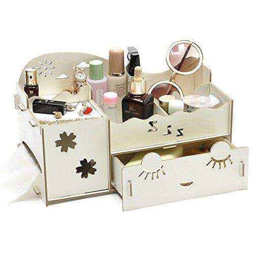 Creative Desk Organiser Office Desk Storage Boxes Lady Jewellery Storage Boxes Long Eyelash Shy Girl Desk Organiser Drawers Small White