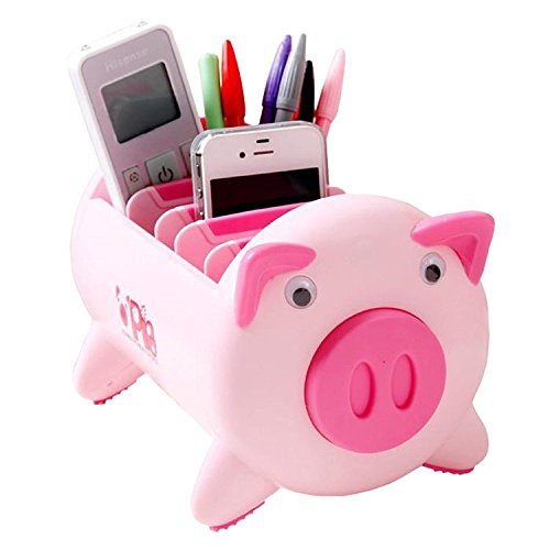 Pacii Creative Pigs Plastic Office Desktop Stationery Pencil Holder Makeup Pen holder Cell Phone Remote Control Storage Box Organizer As Christmas Birthday Gift Home Tool Pink