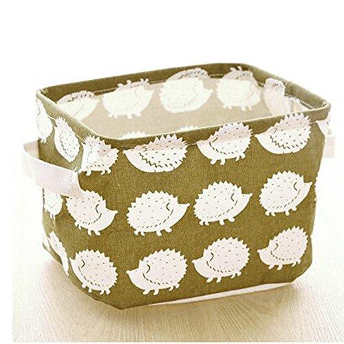 Pink-day Linen Desk Storage Box Jewelry Holder Cosmetic Stationery Organizer Case Bag Hedgehog Pattern