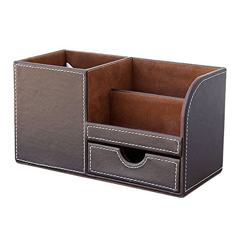 Wooden Struction Leather Multi-function Fashion Desk Stationery Organizer Storage Box PenPencil Cell Phone Business Name Cards Remote Control Holder Coffee