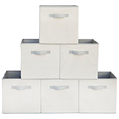 Squared Home Solutions Fabric Storage Cube Bins Cream Gray  Set of 6