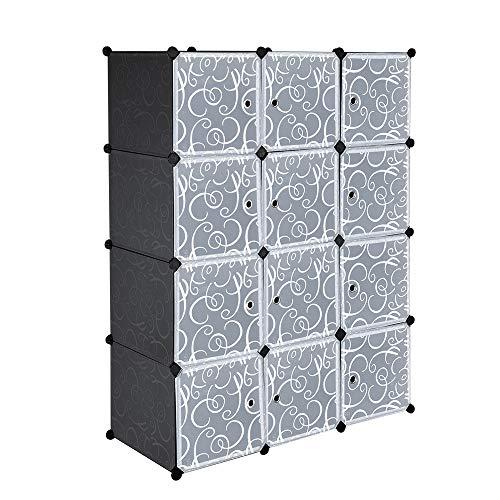 Festnight 12-Cube DIY Storage Units with Doors Closet Organizer Storage Shelves Cubes Shelving Cabinet Toys Organizer for Living Room Bedroom Kids Room Home Furniture