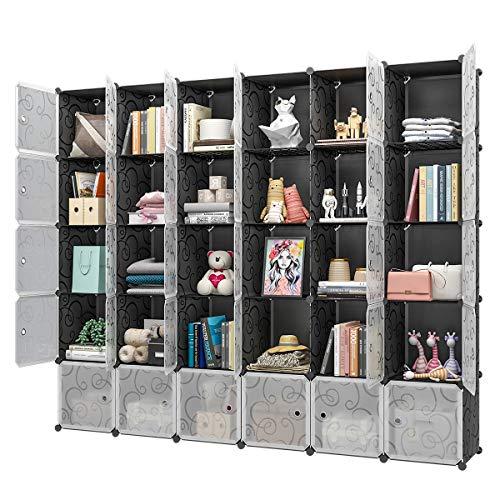 KOUSI Portable Storage Cube Cube Organizer Cube Storage Shelves Cube Shelf Room Organizer Clothes Storage Cubby Shelving Bookshelf Toy Organizer Cabinet Black 30 Cubes